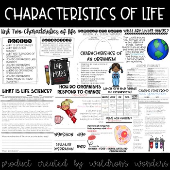 Characteristics of living things unit plan