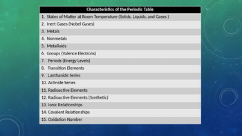 Characteristics of the Periodic Table