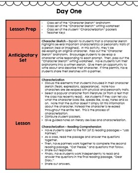 Characterization Lesson Plans - 3 Fun Characterization Lessons