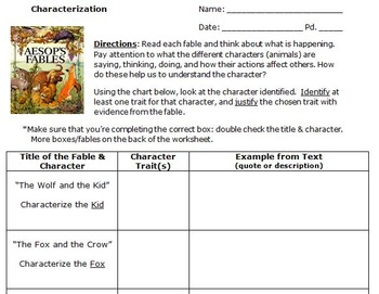 Characterization Activity - Fables, Worksheet, & Answer Key!