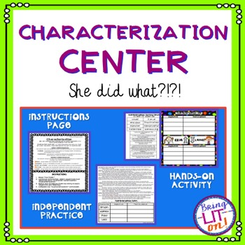 Characterization Center or Activity - CCSS RL.5.3