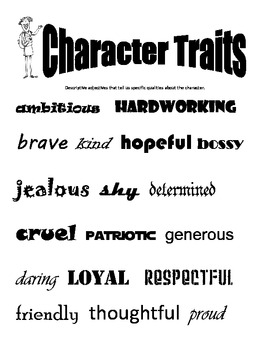 Characterization - Character Trait Literacy Packet - DSTFL Strategy
