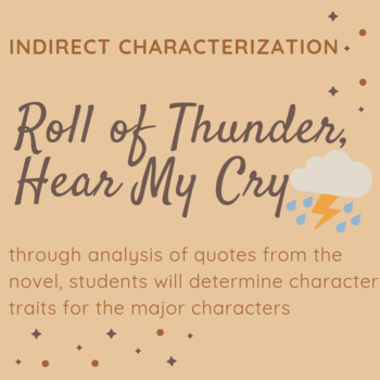 Characterization Chart - Roll of Thunder, Hear My Cry