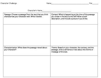 Characterization Chart-Use With Any Text + Bonus Character Challenge Worksheet!