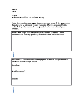 Characterization Claim Paragraph Outline and Rubric