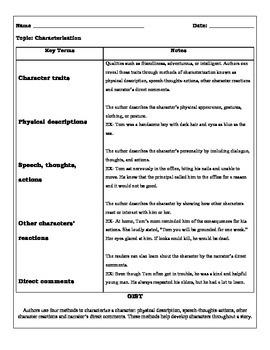 Characterization Cornell Note Organizer