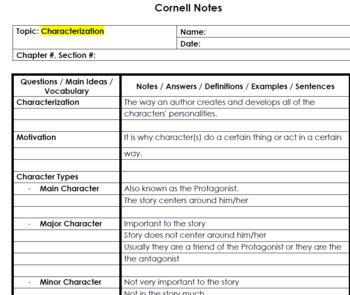 Characterization - Cornell Notes