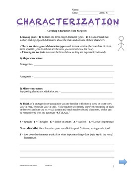 Characterization:  Creating Characters with Purpose!