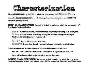 Characterization - Direct & Indirect Handout
