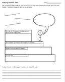 Characterization Graphic Organizer - Analyzing Character Traits