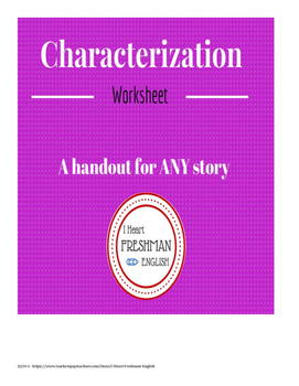 Characterization Graphic Organizer- Freshman