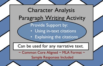 Character Analysis Paragraph Writing Activity
