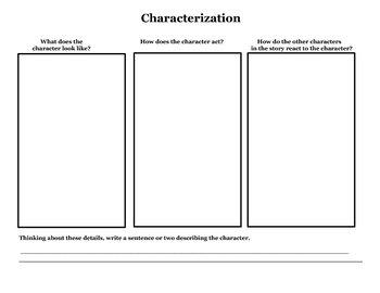 Characterization Graphic Organizers 3 Set-Main/Foil, & Transformation