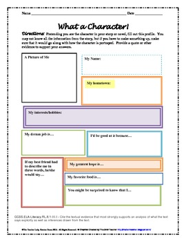 Characterization Graphic Organizers - Common Core Aligned