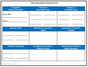 Characterization Indirect and Direct Unit Resources Graphic Organizers CCLS