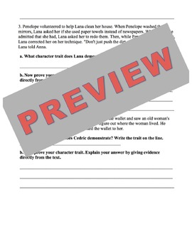Characterization & Inference Worksheet