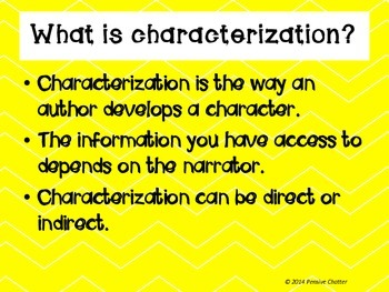 Characterization - Interactive Notebook and Common Core Aligned