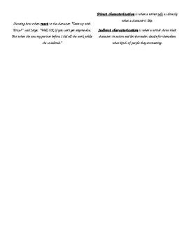 Characterization Language Arts Foldable- Interactive Notebook