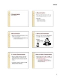 Characterization Lecture and Graphic Organizer