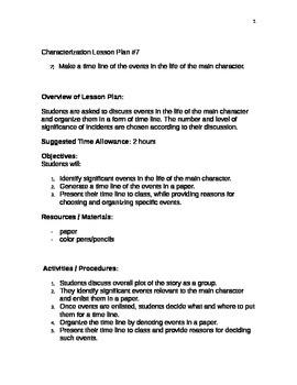 Characterization Lesson Plan Shell #7