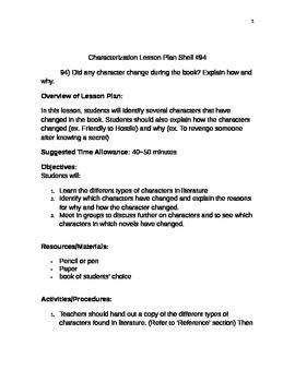 Characterization Lesson Plan Shell #94