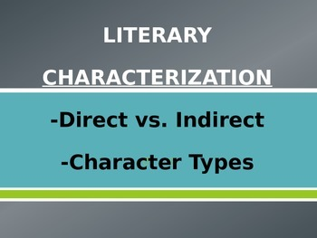 Characterization Literary Analysis Lesson