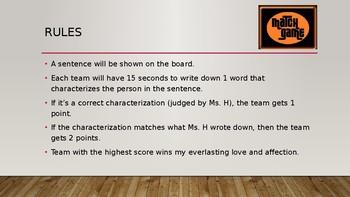 Characterization Match Game