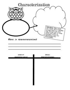 Characterization Notes Graphic Organizer