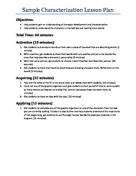 FREE - Characterization Notes and Graphic Organizer