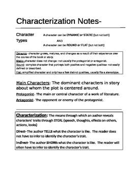 Characterization Notes for interactive Notebook- Middle or