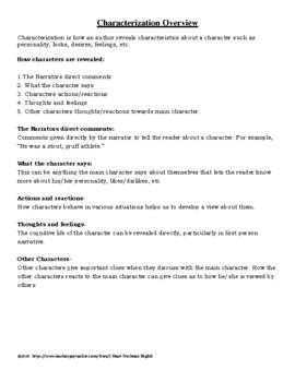 Characterization Part Three- Freshman