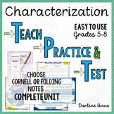 Characterization PowerPoint, Notes, Practice Worksheets &