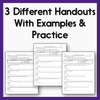 Characterization Practice Sheets - 3 Handouts on Direct & Indirect Methods