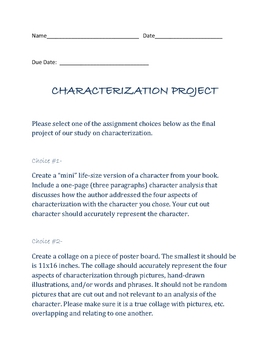 Characterization Project/Middle School/ Diffferent Learning Styles
