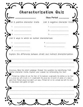 Characterization Quiz