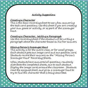 Characterization Writing Task Cards