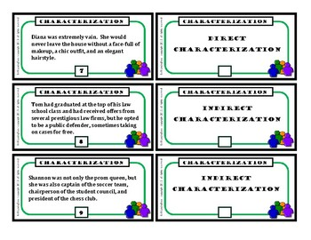 Direct Characterization / Indirect Characterization (Task Cards)