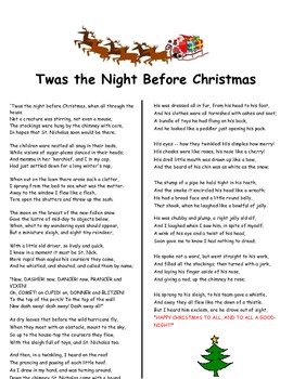 characterization twas the night before christmas poem activity tpt characterization twas the night before christmas poem activity