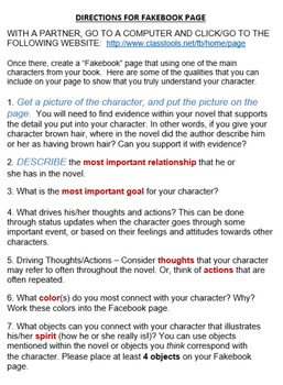"""Story Characters - Using """"Fakebook"""" to create a character analysis (Word Ver)"""