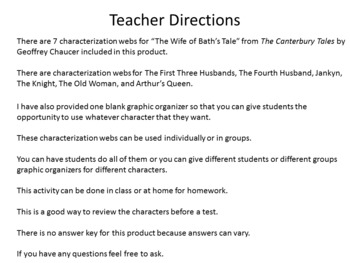 """Characterization Webs for """"The Wife of Bath's Tale"""" by Geoffrey Chaucer"""