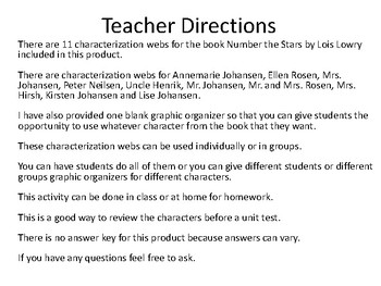 Characterization Webs for the novel Number the Stars by Lois Lowry