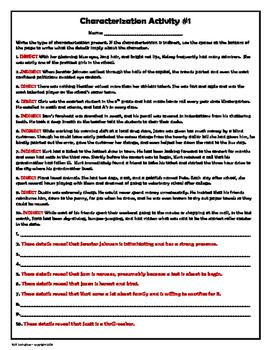 Characterization Worksheet