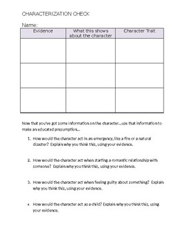 Characterization Worksheet / Graphic Organizer