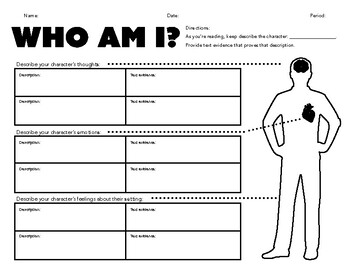 Characterization Worksheet with Text Evidence