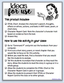 Characterization Worksheets (For all ages)