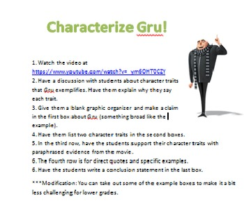 Characterization Writing Activity using Disney's Gru