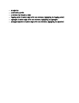 Characterization and Word Elements Book Project Outline