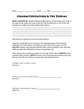 Characterization and the Zodiac in Julius Caesar