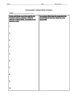 Characterization chart with writing template