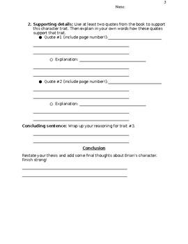 Characterization essay for Hatchet